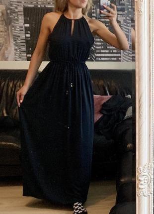 Красивое синее платье макси