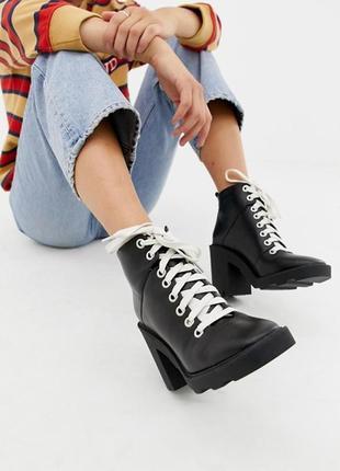 Ботинки asos, натуральная кожа, тупой носок, тренд 2020г. 40 размер