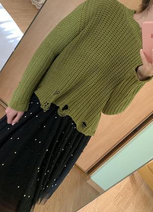 Новый свитер с имитированными дырками zara