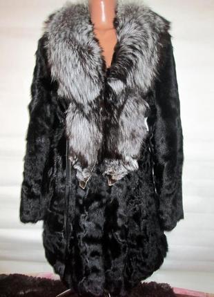 Шуба,шубка,полушубок натуральный мех коза-чернобурка ,лиса! размер 48-50