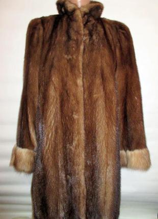 Цельная норковая шуба,норка,натуральный мех соболь! 46-48