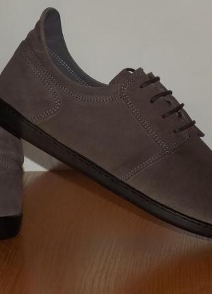 Кожаные туфли на широкую ножку от zaqq - 42 р на широкую ножку кожа везде - новые