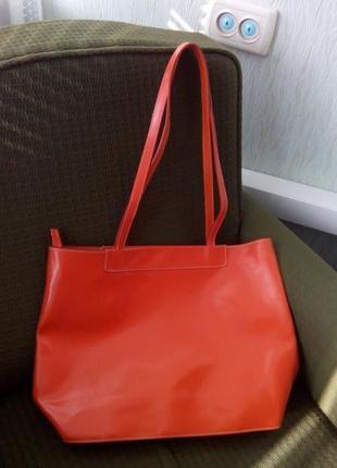 Кожаная большая сумка натуральная кожа оранжевая огромная