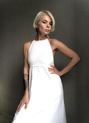 Шикарное белое платье сарафан stradivarius