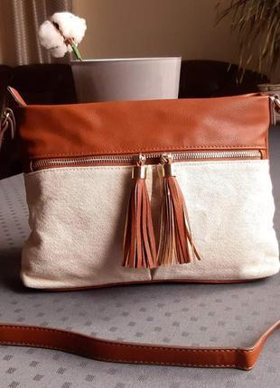 Красивая бежево коричневая сумка кроссбоди фирмы c&a в новом состоянии  экокожа, текстиль
