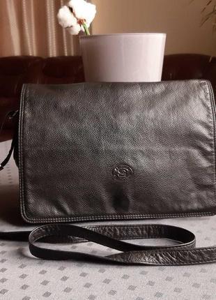 Кожаная красивая черная сумка кроссбоди leather collection