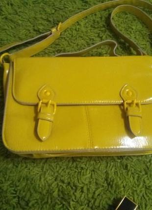 Сумка жёлто-оливкового цвета, сумка-сэтчел
