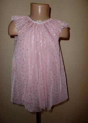 H&m нарядное платье на 12-18 мес, на годик с серебристыми звездочками