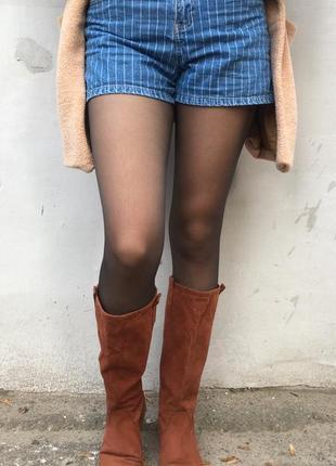 Осенние женские кожаные сапоги ниже колена размер 41-42