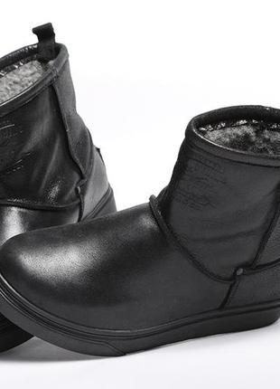 Мужские кожаные угги levis winter black