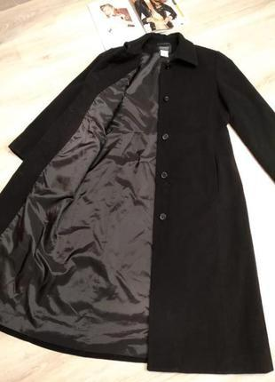 Крутое стильное длинное чёрное базовое пальто из натуральной шерсти