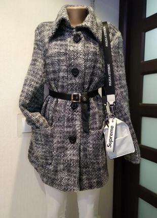 Стильное брендовое теплое пальто пиджак мягкое серое