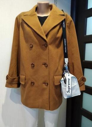 Стильное брендовое теплое пальто пиджак горчично-коричневого цвета