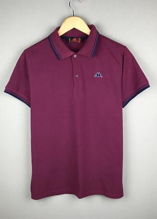Фиолетовое хлопковое поло kappa футболка с воротником оригинал