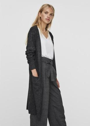 Темно-серый очень длинный кардиган с ворсинками,с карманами и разрезами по бокам