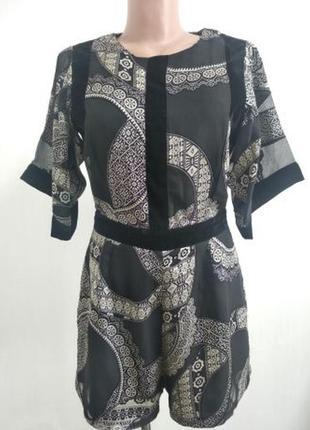 Ромпер комбинезон восточный стиль с велюровыми вставками шифоновый