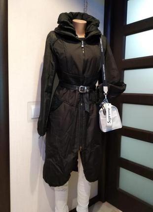 Отличное стильное пальто плащ утеплённый черный