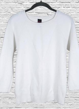 Базовый свитер белый, приталенный пуловер белый