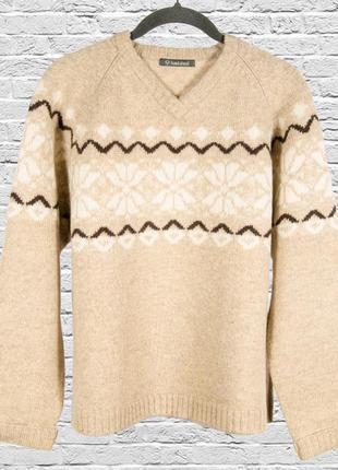 Шерстяной свитер бежевый, женский винтажный свитер