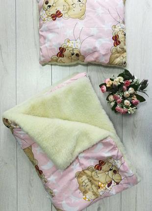 Тёплое покрывало и подушка комплект детский