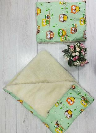 Тёплое одеяло и подушка детский комплект