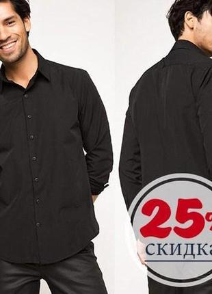 Черная мужская рубашка de facto / де факто с черными пуговицами
