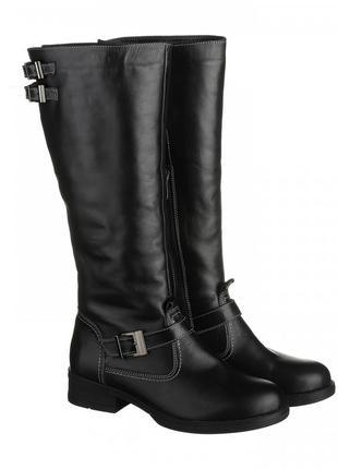 Скидка кожаные зимние черные сапоги низкий каблук натуральная кожа