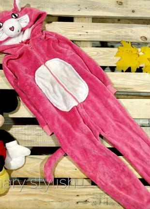 Слип человечек пижама розовый кот костюм для дома очень теплый