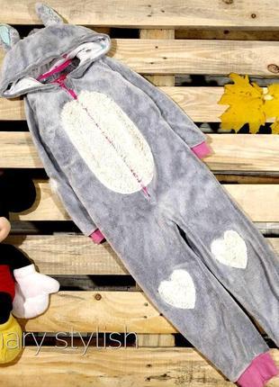 Слип человечек пижама зайчик с латками на рукавах и коленках костюм для дома очень теплый
