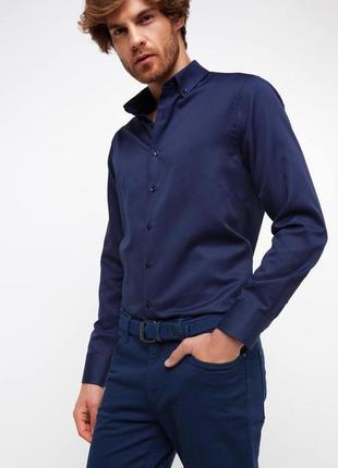 Синяя мужская рубашка de facto / де факто