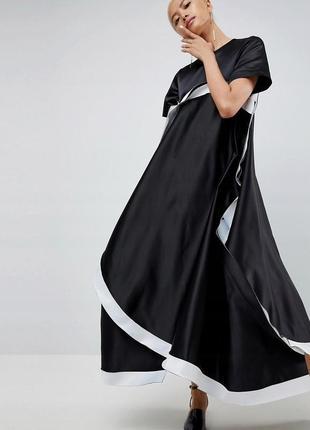 Asos абстрактна атласна контрастна сукня-оверсайз