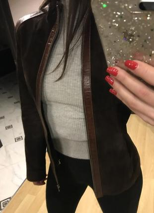 Натуральная замшевая курточка, жакет на стройную девушку