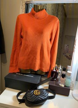 Яркий вязаный тёплый брендовый свитер гольф водолазка от ralph laurent