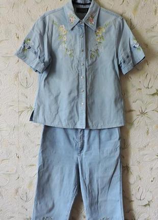 Джинсовый костюм бриджи джинсы с высокой талией рубашка размер 46-48