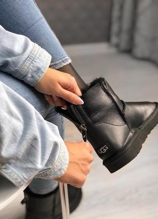 Шикарные женские кожаные зимние угги/ сапоги ugg zip black 😍 {с мехом}