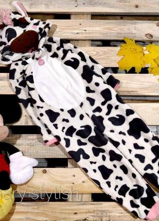 Слип человечек пижама коровка костюм для дома очень теплый