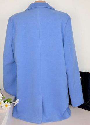 Брендовое голубое демисезонное пальто с карманами numph этикетка8 фото