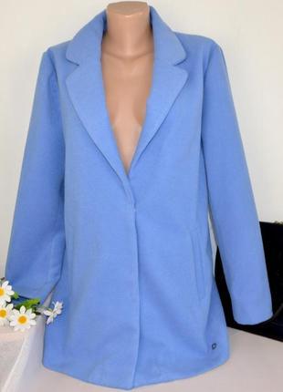 Брендовое голубое демисезонное пальто с карманами numph этикетка7 фото