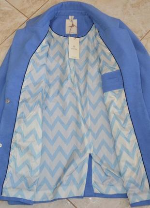 Брендовое голубое демисезонное пальто с карманами numph этикетка10 фото