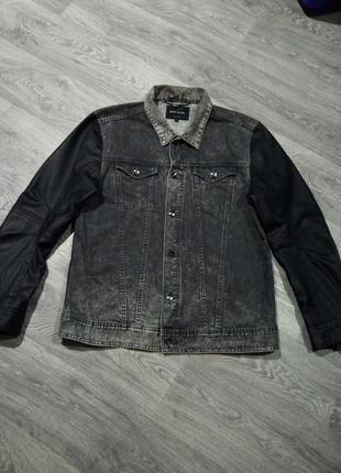 Джинсовая куртка с кожаными рукавами river island
