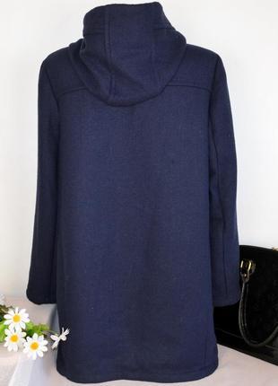 Брендовое синее демисезонное пальто с капюшоном и карманами tu вьетнам акрил шерсть3 фото