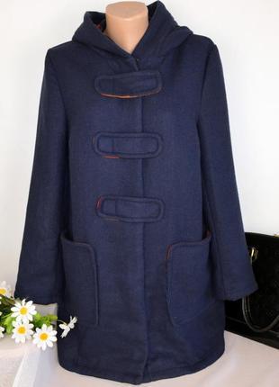Брендовое синее демисезонное пальто с капюшоном и карманами tu вьетнам акрил шерсть2 фото