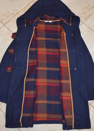 Брендовое синее демисезонное пальто с капюшоном и карманами tu вьетнам акрил шерсть7 фото