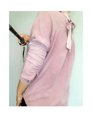 Розовая рубашка с бантом на спине 12-16/48-52