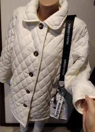 Крутая стильная брэндовая куртка парка стеганая белая