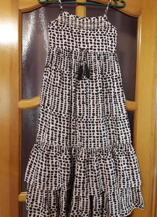 Красивый пышный длинный сарафан платье на принцессу 10 лет. хлопок. индия.