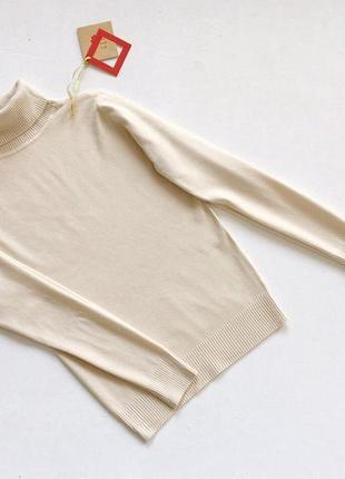 Новый стильный гольф натуральная ткань цвет молочный бежевый l-xl