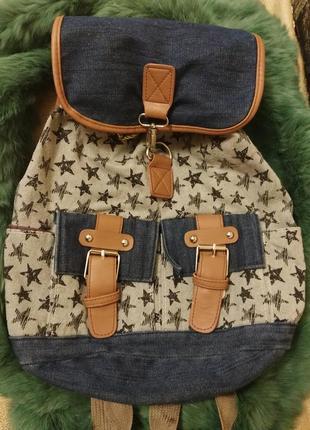 Джинсовый крутой рюкзак в заездочки