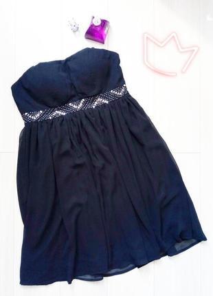 Чёрное шифоновое платье - бюстье на хеллоуин, хэллоуин