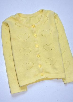 Matalan. кофта кардиган лимонного цвета в сердца. 2-3 года. рост 98 см.